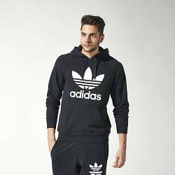 Черный спортивный мужской костюм кенгуру Adidas (Адидас)