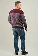 Мужской свитер на осень в ромбообразный рисунок Никита, цвет бордо / размерный ряд 48,50,52, фото 3