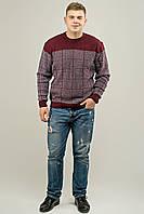 Мужской свитер на осень в ромбообразный рисунок Никита, цвет бордо / размерный ряд 48,50,52