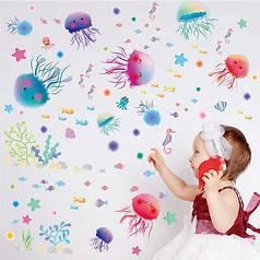 """Наклейка на стену, виниловые наклейки, наклейки в ванную """"медузы"""" (лист 30*45 см)"""