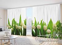 """3D Фото Шторы """"Белые тюльпаны"""" 2,7м*4,0м (2 полотна по 2,0м), тесьма, фото 1"""