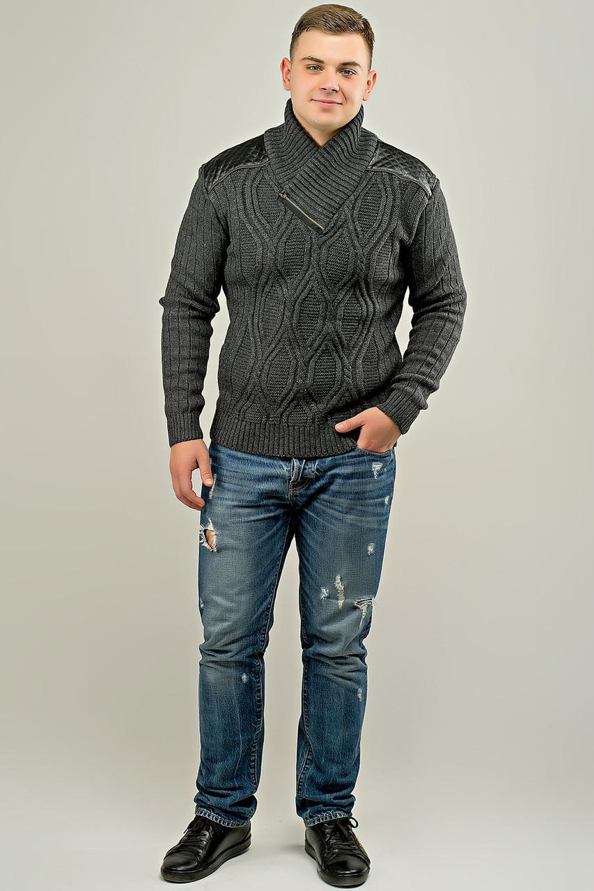 Мужской свитер прямого покроя с горловиной Леонид, цвет серый / размерный ряд 50,52