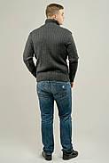 Мужской свитер прямого покроя с горловиной Леонид, цвет серый / размерный ряд 50,52, фото 3