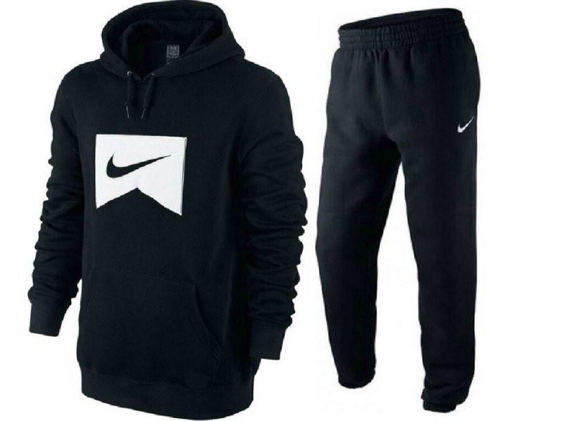 Черный спортивный костюм кенгуру Nike (Найк) для тренировок