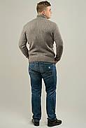 Мужской свитер прямого покроя с горловиной Леонид, цвет бежевый / размерный ряд 50,52, фото 3