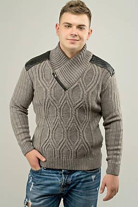 Мужской свитер прямого покроя с горловиной Леонид, цвет бежевый / размерный ряд 50,52, фото 2