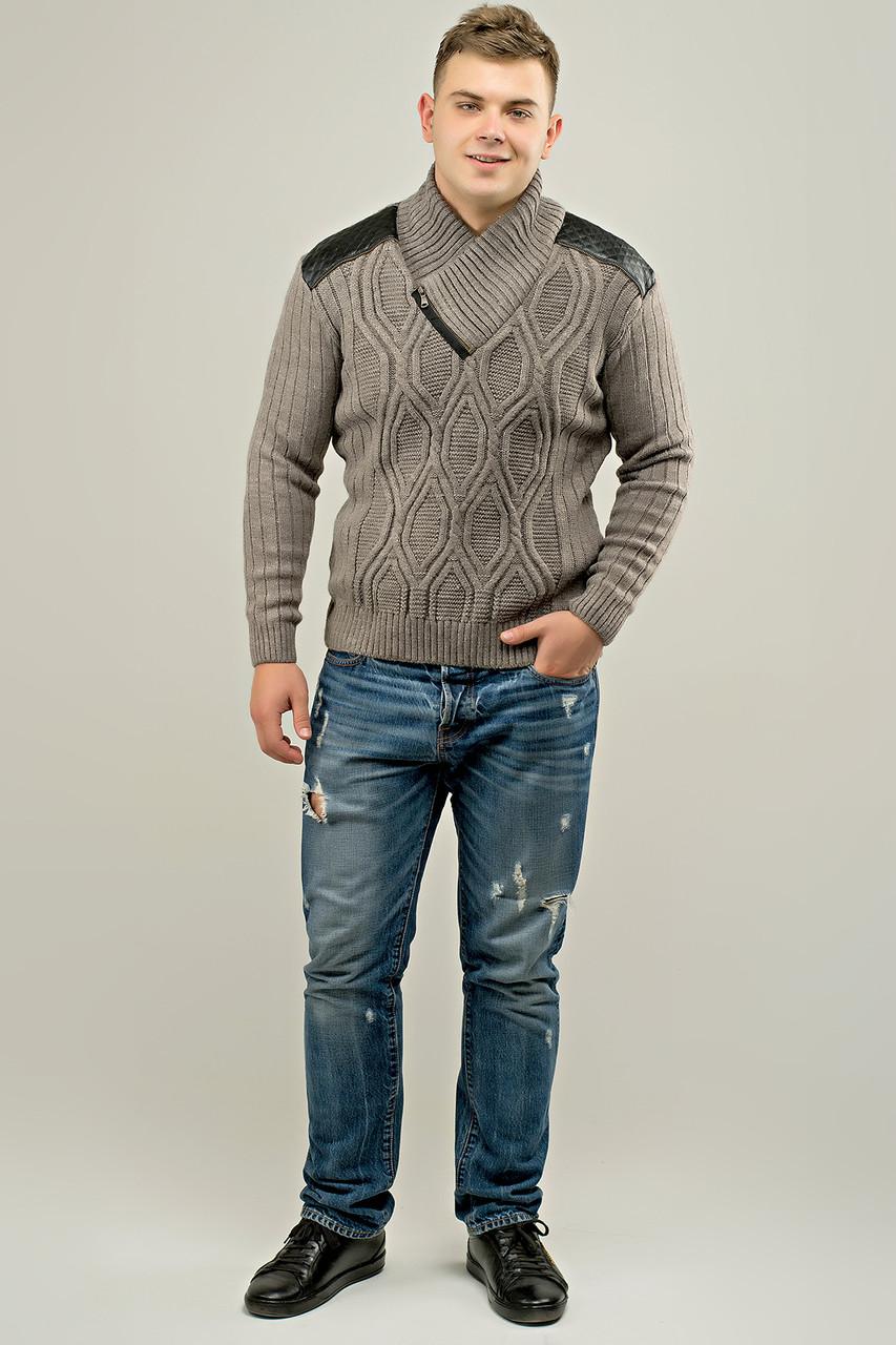 Мужской свитер прямого покроя с горловиной Леонид, цвет бежевый / размерный ряд 50,52
