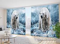 """Фото шторы """"Белые медведи"""" 2,7м*2,9м (2 половинки по 1,45м), тесьма"""