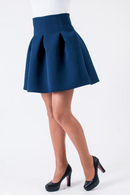 Стильная молодёжная приталенная юбка синего цвета