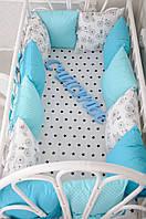 """Комплект бортиков в кроватку + простынь, """"Классик"""" Велосипеды 12 подушек+постельное белье"""
