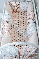 """Комплект бортиков в кроватку + простынь, """"Классик"""" Париж  12 подушек+постельное белье"""