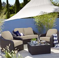 Набор садовой мебели из ротанга Borneo 4 Piece Conversation Sofa Set - Dark Brown Dark Linen