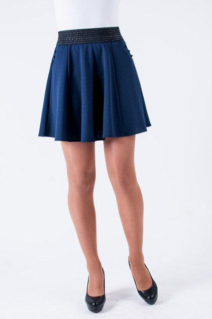 Молодёжная юбка-колокольчик с карманами чёрного цвета 40-46