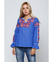 Українська вишиванка синього кольору. Українскі сорочки. Сорочки жіночі вишиті.