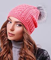 Женская вязаная шапка с меховым бубоном(303 mrs)
