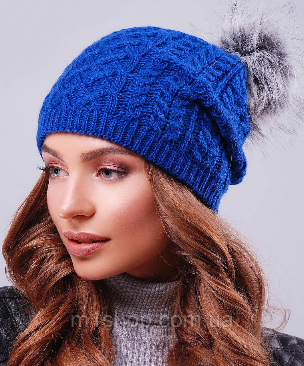Женская вязаная шапка с меховым бубоном (303 mrs)