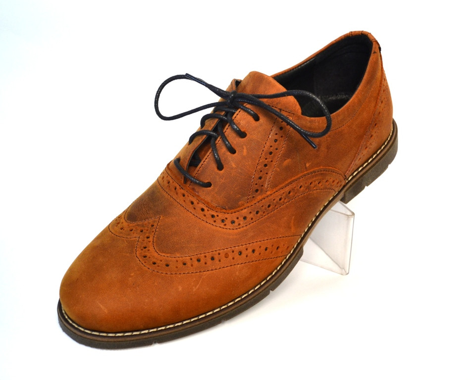 Туфли мужские кожаные коричневые янтарные броги Rosso Avangard Felicete Brown SE , фото 1