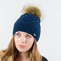 """Женская шапка с помпоном """"Мери"""" (Темно-синий)"""