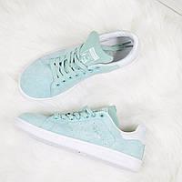 Мятного цвета детские, подростковые кроссовки Adidas Stan Smith