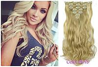Волосы трессы на заколках ТЕРМО 7 прядей длина 57см  №613 блонд