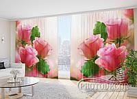 """ФотоШторы """"Букет розовых роз"""" 2,7м*2,9м (2 половинки по 1,45м), тесьма"""