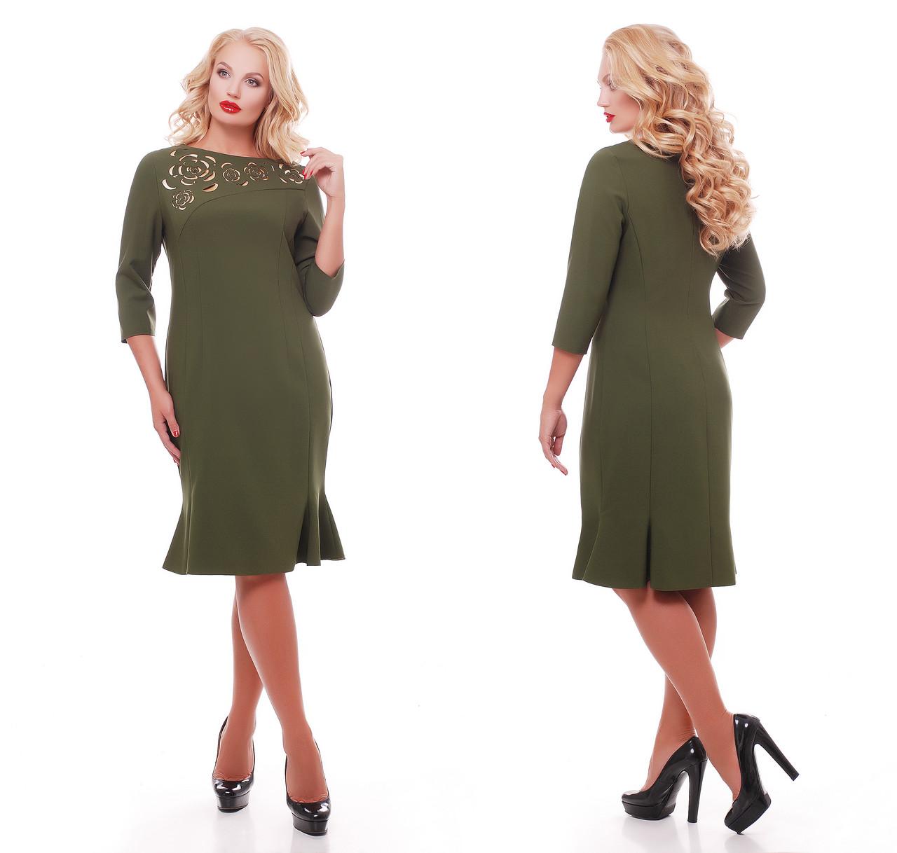 Платье с перфорацией Анюта оливка