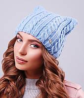 Женская вязаная шапка с ушками(306 mrs)