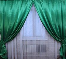 Шторы из атласа. Цвет зеленый №37