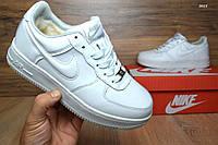 Подростковые зимние кроссовки+Air Force белые с мехом