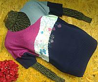 Пуловер джемпер из шерсти 1331 синий 44-52р