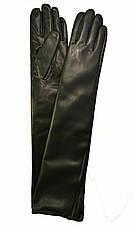 Длинные женские перчатки из экокожи с сенсорными пальчиками, длина перчаток около 47 см, фото 2