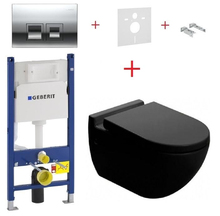Унитаз NEWARC Modern черный (3823B)+инсталляция GEBERIT Duofix+кнопка 115.135.21.1