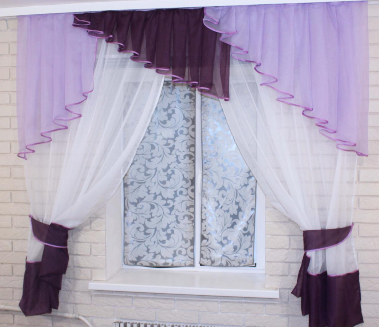 Кухонная занавесь, шторки с ламбрекеном. Цвет сиреневый с фиолетовым. На карниз 1,5-2м. №49
