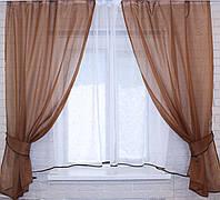 Комплект на кухню, тюль и шторки №51, Цвет коричневый с белым