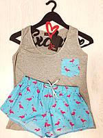 Комплект для сна майка и шорты, фламинго