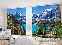 """ФотоШторы """"Летний вид на озеро в Альпах"""" 2,7м*2,9м (2 половинки по 1,45м), тесьма"""