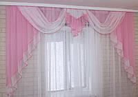 Ламбрекен №52 на карниз 2,5 метра, цвет розовый