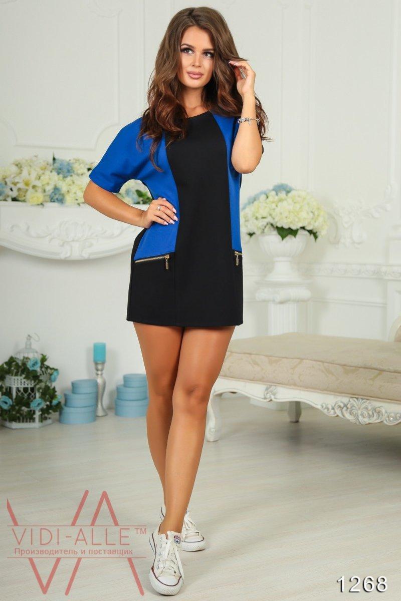 Короткое женское платье с кожаными вставками 48
