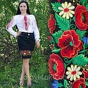 Женская юбка черная с вышивкой
