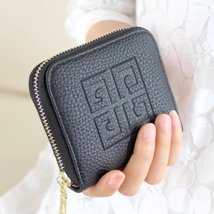 Женский кошелек в стиле Givenchy на молнии маленький черный