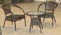 Комплект з штучного ротангу: 2 крісла + столик, фото 1