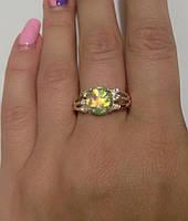 Кольцо серебряное с золотыми пластинами и опалом Сфинкс