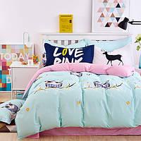 Постельное белье Совушки саржа 100% хлопок комплект евро двуспальный кровать 2.0м