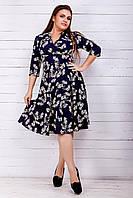 Летнее трикотажное платье в цветочный принт