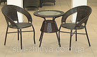 Комплект з штучного ротангу: 2 крісла + столик