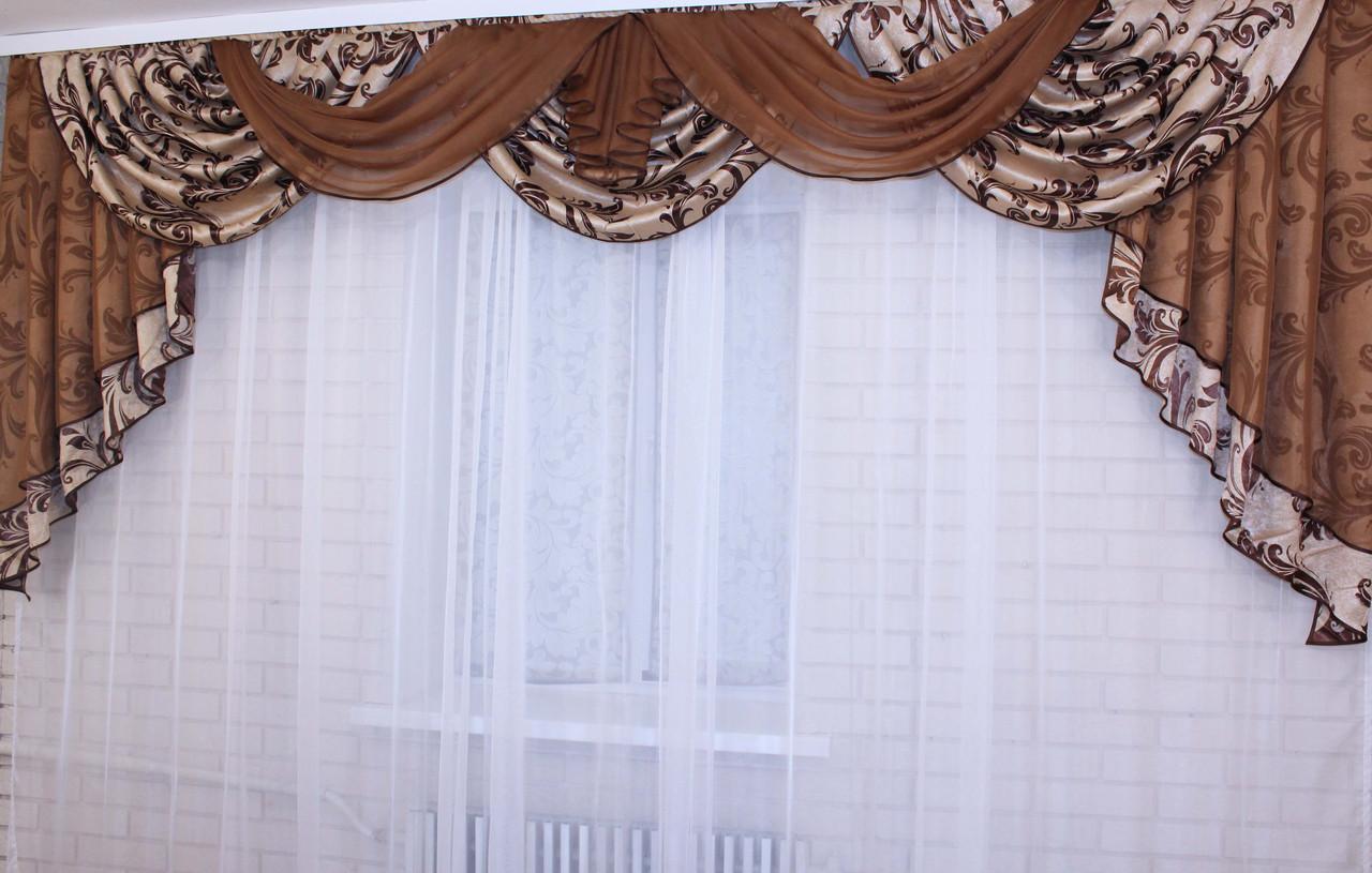 Ламбрекен ручной выкладки из ткани блэкаут №69