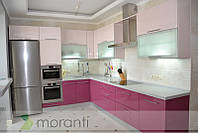 Кухня на заказ МДФ глянец и стекло серии Глосс, фото 1