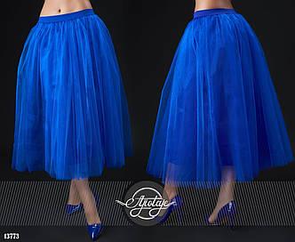 """Элегантная пышная женская юбка средней длины """"Бенгалин Фатин Миди"""" в расцветках (0015-007)"""
