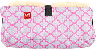 Kaiser - Двойная муфта для рук из натуральной овчины, цвет розовый с орнаментом