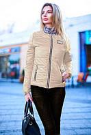 Куртка женская короткая из плащевки на молнии P7314